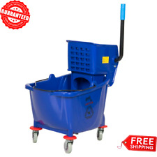 Commercial Janitor Mop Bucket 36 Qt. And Wringer Combo Professional Cleaner Blue