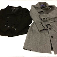 Lot 2 Womens Medium Peacoat Jackets Lot Wool Long & Mid Length Gray Black Warm