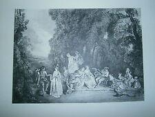 Planche gravure L'assemblée galante d'aprés Watteau