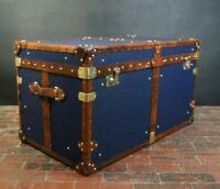 Beautiful Handmade Blue Canvas & Leather Steamer Trunk Coffee Table