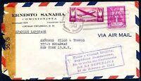 DOMINICANA TO USA Air Mail Censored Cover 1943