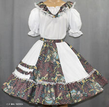 WHITE, PINK, TURQOISE, GREEN PAISLY FLOWER SQUARE DANCE DRESS SIZE MEDIUM