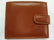 High Quality Luxury Mens Soft Leather Wallet With Large Zipped Coin Pocket Tan