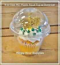 50-pack TAKE n' GO 9 oz Plastic Snack, Cupcake, Parfait Squat Cup w/ Dome Lid