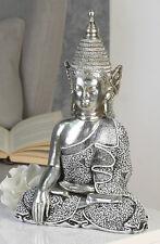 Figur sitzender Buddha silber im antikfinish mit schwarz/weißem Mosaik
