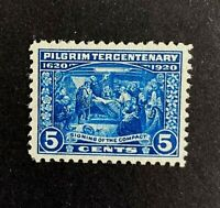US Stamp, Scott #550 5c 1920 Pilgrim Issue 2005 PSE Cert - GC XF/S M/NH. Fresh!