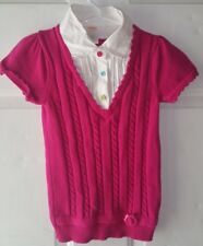 Gymboree Smart And Sweet Girls 5 6 Pink Sweater Button TOP Short Sleeve