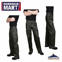 Portwest C701 Cargo Work Pants for Men, in Navy & Black: sizes 30-48