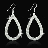 Big Waterdrop Crystal Rhinestone Trendy Sparkling Silver Diamante Earrings  *UK*