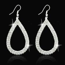 Big Waterdrop Crystal Rhinestone Trendy Sparkling Silver Diamante Earrings  *UK*