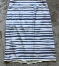 REISS Womens White/Navy Striped 'Delia' Skirt UK 14
