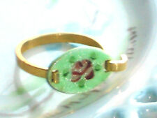 #1492S Vintage Ring Guilloche Enameled Enamel Rose Handpainted Floral 7.5