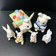 Vintage Lot of 6 White Ceramic Easter Bunny Rabbit Figurines One Has Lid