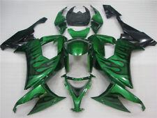Spritzgegossene Kunststoff Verkleidung kit für 2008-2010 ZX10R grün Flammen y001