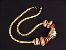 """African Ethnic Painted Wood Natural Beaded Bead Statement Necklace 12"""""""