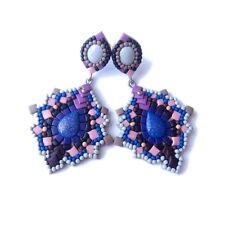 Long Spike Boho Wedding Purple Blue Violet Handmade Artistic Earrings Jewelry