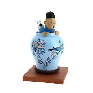 Tim & Struppi Figur Vase Lotus ✅ Tintin Statues Vase ➤Original Moulinsart 46401