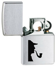 Zippo Genuine Brushed Chrome Sherlock Holmes Windproof Pipe Lighter 205PL 1393