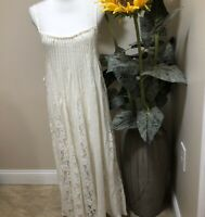 NWOT Free People  Maxi Dress Size M Ivory  With Pintucks And Lace Inserts