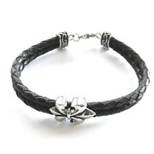 Damen Herren Lederarmband Lilie schwarz geflochten Fleur de Lys bracelet 22 cm