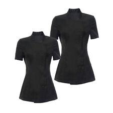 2pcs Women's Spa Hairdressers Black Work Coat Nails Uniform Salon Tunic S L