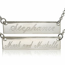 STERLING SILVER MESSAGE TAG PERSONAL PLATE ENGRAVE ANY NAME BAR CHAIN NECKLACE