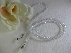 "CRYSTAL CLEAR 27"" Czech Bi-Cone Shaped Crystal Beaded Eyeglass Chain~Holder USA"