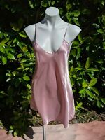 Vtg NWT 90s Basic Editions Slip Chemise Nightie Shiny Liquid Satin Dusty Rose M