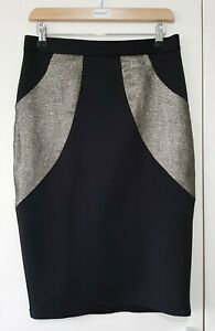 Dorothy Perkins Skirt Size 8 Black Glitter Gold Pencil Party Occasion, Ladies