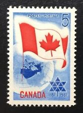 Canada #453 Untagged MNH, Centennial of Confederation - Flag and Map Stamp 1967