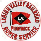 LEHIGH VALLEY RAILROAD SUPER SERVICE 11.75in ROUND METAL SIGN