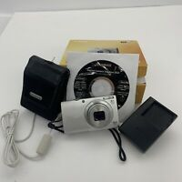 Canon Powershot A4000 16MP Digital Camera Silver w Battery Charger Case And CD