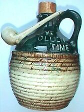 Nice Antique YE OLDEN TIME figural handled POTTERY JUG w/ TOBACCO PIPE