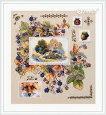 Autumn Sampler Berry Fox Acorn Landscape Merejka Counted Cross Stitch Kit