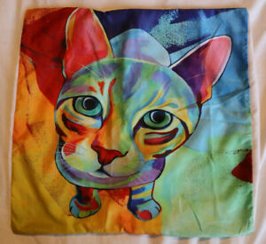 "Cat Cushion Cover - Multicoloured 17x17"" - Crazy Cat Lady Gift - Pillow Cover"
