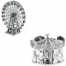 Set of 2 Fascinations 3D Metal Earth Merry Go Round & Ferris Wheel Model Kits