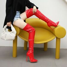 Womens Sexy Lace Up Buckle Strap Thigh High Nightclub Boots Heels Stilettos Size