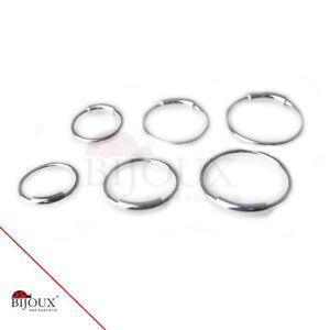 1 Paio Orecchini Cerchio Argento 925 Piercing  8-10-12 mm
