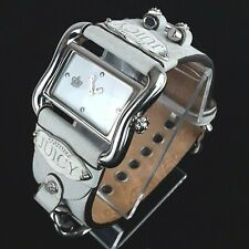 Juicy Couture Womens Analog White Leather Band Stainless Steel Watch EUC