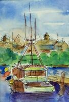 Original Watercolor Painting by MURRAY KESHNER Sailboat Docked