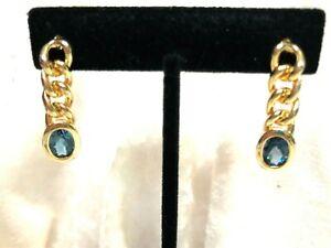 14K YELLOW GOLD PLATED GEMSTONE EARRINGS, BLUE TOPAZ OR CITRINE (M1479-20)