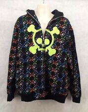 Skull And $ Black Zip Up Jacket Coat With Hood Size XL
