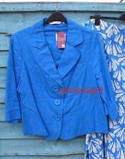 Edinburgh Woollen Mill EWM Linen Mix Blue 3/4 Sleeve Jacket Plus Size 22 BNWT