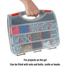 Portable Storage Case Bins 15 Compartments Nuts Bolts Beads Screws Crafts 12x10