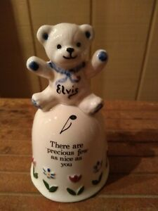 VINTAGE ELVIS BEAR SIGNED 1996 CERAMIC DECORATIVE BELL NICE AS YOU FREE SHIPPING