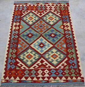 Afghan Kundoz Genuine Handmade Tribal Nomad Multi Colour Wool Kilim Rug 84x127cm