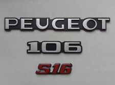 NEUF KIT 3 MONOGRAMMES PEUGEOT 106 S16 PHASE 2 LOGO REPRODUCTION CONFORME 16s