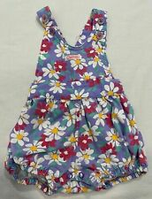 Vintage Carter's Purple Denim Romper Bubble Floral Daisy Overall Shorts 6 months