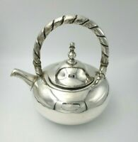Classic Style Vintage Sterling Silver Teapot with Twisted Handle 9993
