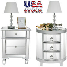 Mirrored Nightstand 1/3 Drawer Modern Table Storage Accent Cabinet Silver Glass